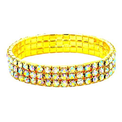 Sparkling Three Line AB Rhinestone Crystal Gold Stretch Bracelet Affordable Wedding Jewelry ()