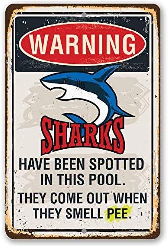 565pir Metallschild Warning Sharks in Pool, langlebiges Metallschild für den Innen- und Außenbereich, ideal als Dekoration für Pool