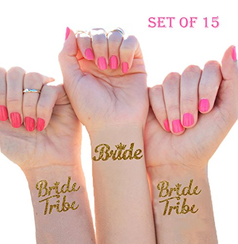 Bride Tribe Temporary Tattoos (Set of 15), Bachelorette Party, Team Bride Flash Tattoos, Waterproof Bridal Party Swag, Bridesmaid Hens Party, Wedding Party Favors, Gold Metallic Foil Wash-Off Tattoos