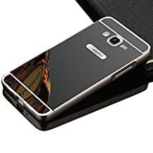 Galaxy Grand Prime Cell Phone Case,Vandot Premium Ultra Slim Thin Metal Aluminum Bumper Frame Bling Shiny Mirror PC Hard Back Case Cover Anti-scratch Shockproof Protective Skin Shell For Samsung Galaxy Grand Prime G530H G5308W-Black