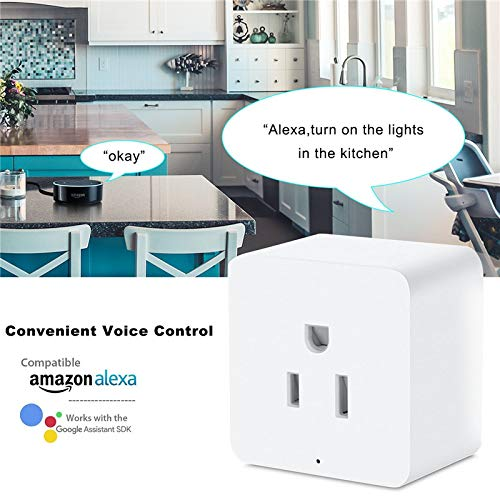 POTENCO Smart Socket Smart US Plug Wifi Outlet Mini Socket Compatible with Alexa and Google Home with Timer Function by POTENCO W25