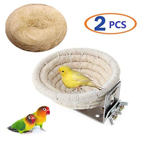 (Bird Nest Parakeet Nest Handmade Cotton Weave Hemp Rope Nests Birds Breeding Hatching Nest Parrot Nesting Box Cage Hatch House Hut Cave Raffia Fiber for Parrots Canary Nest(1bird nest 1coco Fiber))