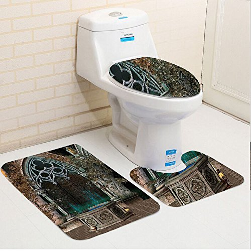 Keshia Dwete three-piece toilet seat pad customGothic Mystical Patio with Enchanted Wishing Well Ivy on Antique Gateway to Magical Forest Grey Teal