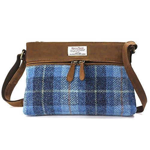 Real amp; Bay Bag Tweed Shoulder Leather Blue Harris Castle TBwfnEqq