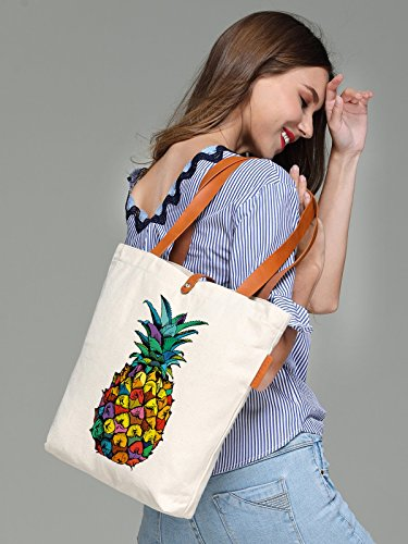So'each Women's Colourful Pineapple Graphic Canvas Tote Handbag Shopper Bag