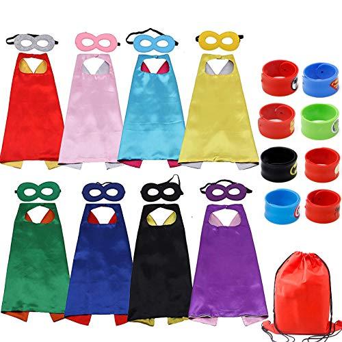 RioRand Kids Cartoon Dress Up Costumes Double-Sided Satin Capes with Felt Masks and Slap Bracelets 8pcs