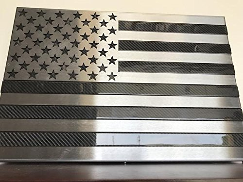 Metal Art of Wisconsin Real Carbon Fiber Flag Inlaid with Polished Steel Stars and Stripes (2 foot matte black carbon fiber)