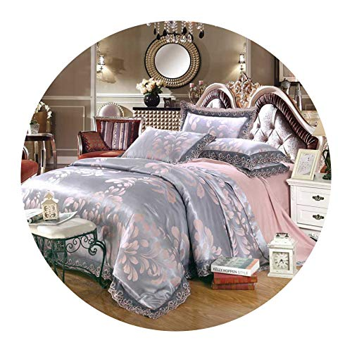 (4pcs Green Jacquard Silk Bedding Set Queen King Luxury Satin Quilt/Duvet/Comforter Cover Bed Linen Bedclothes Set Home Textile,19,Queen 4pcs)