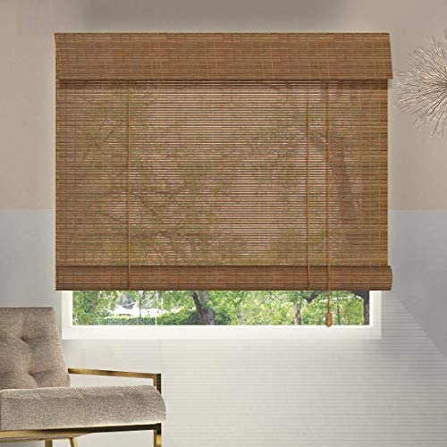 ZY Blinds Bamboo Window Blinds, 75W x 84H Inches Bamboo Light Filtering Roll Up Window Roller Shades with Valance for Doors, Sliding Door, Restaurant, Kitchen, Living Room, Porch, Balcony, Pattern 4