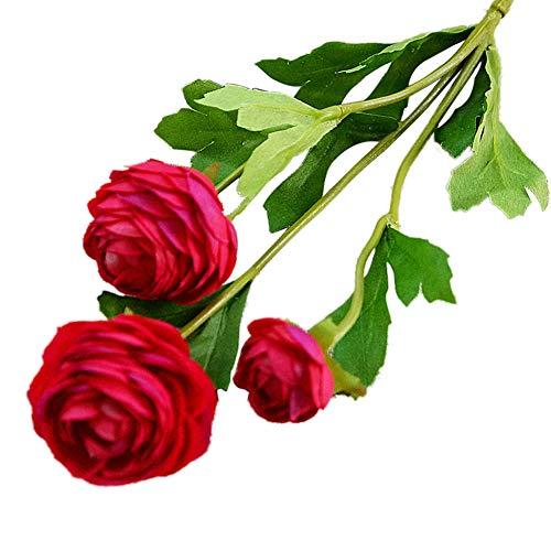 (Braceus 2 PCS Artificial Flower Home Garden Bridal Wedding Arrangement Party DIY Decor Beautiful Realistic Plants Greenery Restaurant Hotel Desk Decoration Rose Red)
