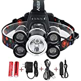 LED Headlamp, 5 Headlamp 8000 Lumens Bright Light Headlight Flashlight 4 Modes XML-T6 LED with Rechargeable Batteries and Waterproof Switch, for Camping/Travel / Walking/Adventure