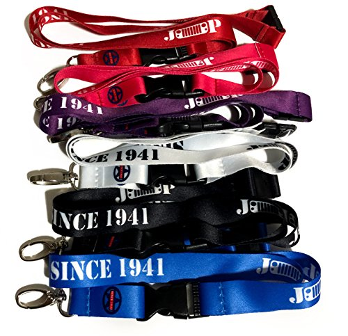 Since 1941 Jeep Lanyard Keychain Holder Gift Bundle - Includes Black, Purple, Pink, Red, White and Blue Wrangler Grille Logo Lanyards