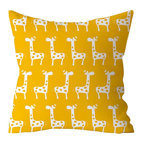 huoaoqiyegu Home Yellow Print Cushion Cover Square Pillowcase Home Decoration