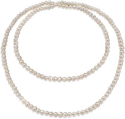 Infinitas Capas Blancas Redondas Aqua Fresca Culturada Perla Cuerda Larga Collar Para La Mujer