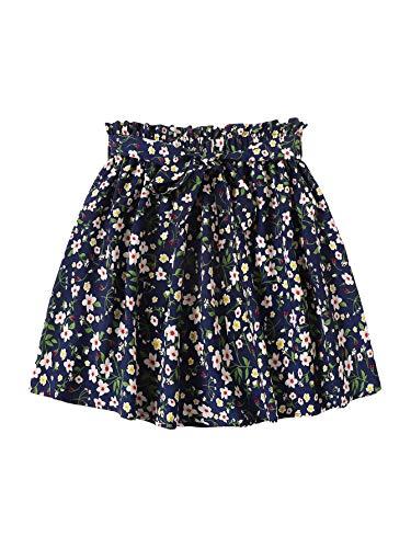 SheIn Women's Summer Floral Print Self Belted A Line Flared Skater Short - Skirt Floral Belted