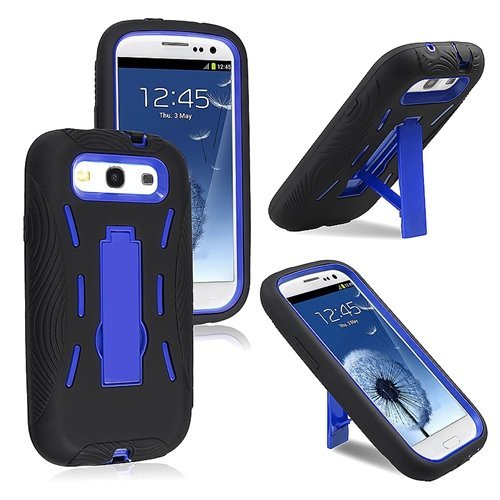 Blue Hard Case and Black Silicone Skin Dual Combo 2-in-1 with Kickstand / Kick Stand Snap-On Protective Cover Cell Phone for Samsung© Galaxy S 3 III / S3 / i9300 - Samsung Phone Cell Skins