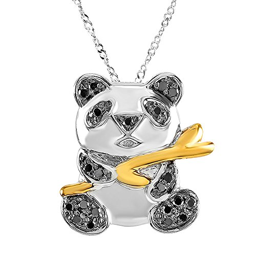 0.26 Carat (ctw) Sterling Silver Real Black Diamonds Panda Ladies Pendant ()