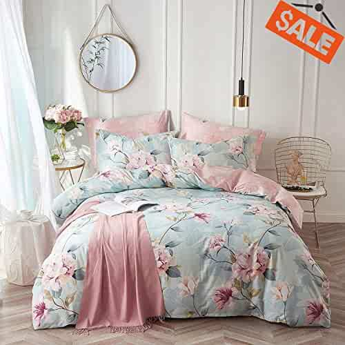 7509a0b6a0fa VClife Cotton Bedding Duvet Cover Sets Full Botanical Flower Branch Pattern Queen  Comforter Quilt Cover Sets