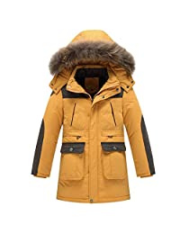 iikids Kids Boys Warm Thick Long Hooded Outwear with Soft Fur Hoodies