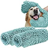 "Turquoize Ultra Absorbent Dog Towel Super Shammy with Hand Pockets Microfiber Chenille Dog Bath Dry Towel Washable Grooming Animal Towel Duckshell Blue-2 Pack Size 24"" by 14"""