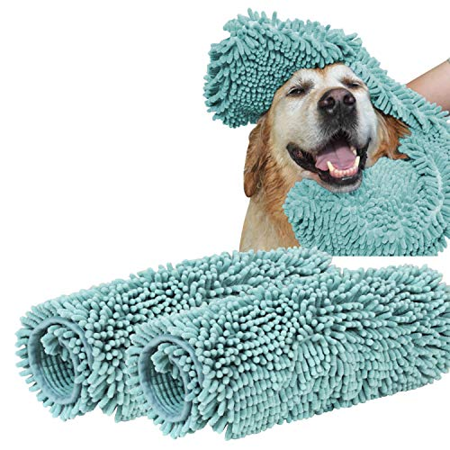 Turquoize Ultra Absorbent Dog Towel Super Shammy with Hand Pockets Microfiber Chenille Dog Bath Dry Towel Washable Grooming Animal Towel Duckshell Blue-2 Pack Size 24'' by 14'' by Turquoize