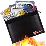 "Fireproof Document Bag, Fire Water Resistant Money Bag 15"" x 11"" Non-Itchy Silicone Coated Document Bag Dual-Layer Fireproof Envelope Holder for Cash, Birth Certificate, Jewelry and Passport(Black)"