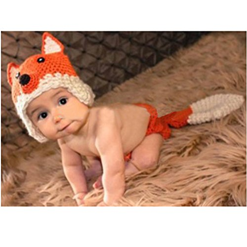 Space PH Newborn Baby Girl Boy Crochet Cute Little Fox Children To Take Pictures Props Outfit Set