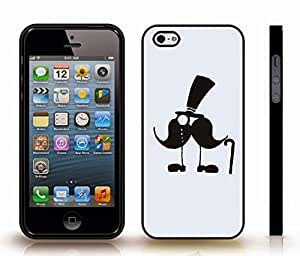 iStar Cases? iPhone 4 Case with Mustache Man with Top Hat, Monocle and Cane , Snap-on Cover, Hard Carrying Case (Black)