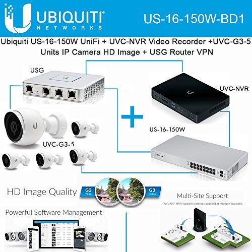 Ubiquiti US-16-150W UniFi+UVC-NVR Video Recorder+UVC-G3 IPCamera+USG Router  VPN