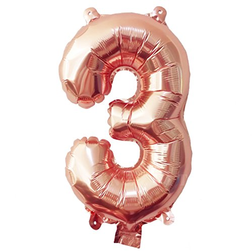 Glanzzeit® 16 inch Rose Gold Balloons Letter A to Z Number 0 to 9 Foil Balloons for Wedding Prom Birthday Party Baby Shower Christmas Decor (Number 3)]()