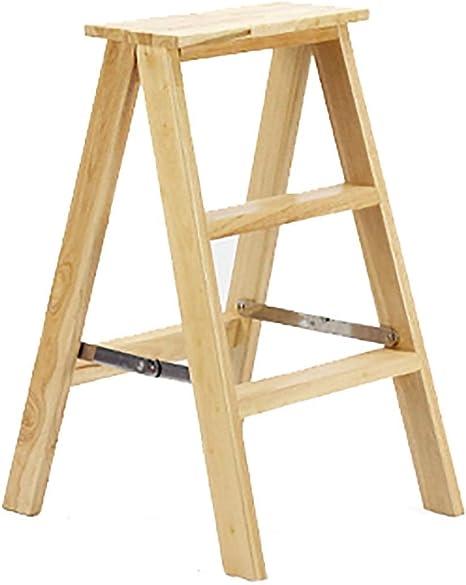 Oficina banquetas de 3 pasos Paso plegable taburete de madera Escalera en el hogar cubierta Escalera