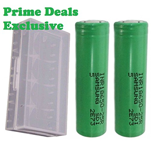 2 Authentic Samsung INR18650-25R 18650 2500mAh 3.7v Rechargeable Flat Top Batteries with Case Prime - Inr Price