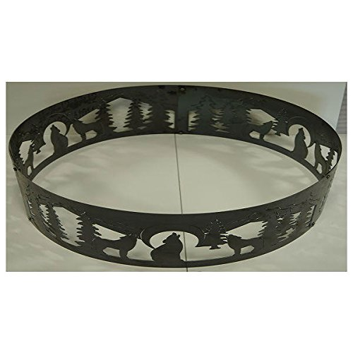 PD Metals Steel Campfire Fire Ring Wolves Design - Unpainted - Extra Large 60 d x 12 h Plus Free eGuide by PD Metals