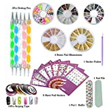 DIY Glitter Nail Rhinestones Decorations Dotting Tool Water Transfer Sticker Decal Stiping Line Beauty Accessories Nail Art Set Kit (Style 1)