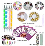 DIY Glitter Nail Rhinestones Decorations Dotting Tool Water Transfer Sticker Decal Beauty Accessories Nail Art Set Kit (Style 1)
