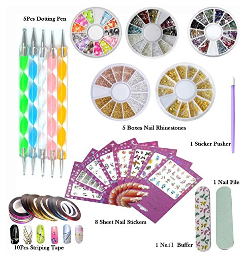 DIY Glitter Nail Rhinestones Decorations Dotting Tool Water Transfer Sticker Decal Nail Line Tape Striping Nails Sanding Buffing File Beauty Accessories Nail Art Set Kit (Style 1) by Addfavor