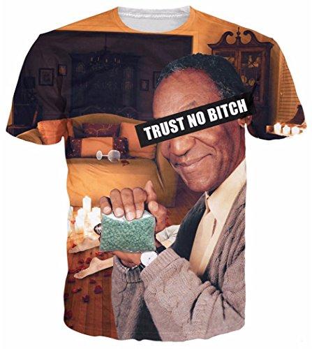 Chiclook Cool Men/Women Fashion Harajuku Bill Cosby Trust NO Bitch Drugs Print T Shirt Casual Tops Tee