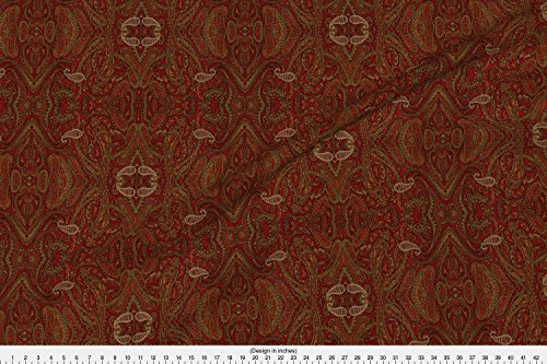Indian Fabric Paisley Red by Amyvail Printed on Faux Suede Fabric by the Yard by Spoonflower (Paisley Curtain Suede)