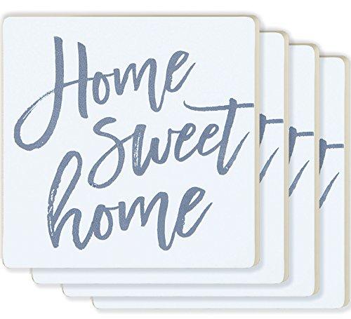 Home Sweet Home Script White 4 x 4 Ceramic Coaster 4 Pack (Coasters Ceramic Pack 4)