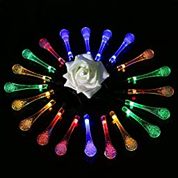 [Rechargeable Battery Included]Battery Operated Christmas String Lights with Timer,easyDecor 30 LED 21ft Multi-color 8Mode Waterproof Decorative Fairy Water Drop for Thanksgiving,Indoor,Outdoor,Party