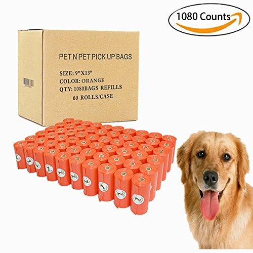 PET N PET 1080 Counts Large Orange Dog Waste Bags Unscented 60 (Dog Poo Bags)