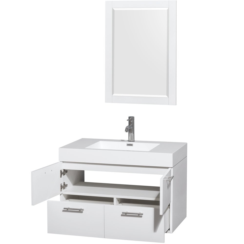 30 quot amare wall mounted bathroom vanity set with integrated sink by - Wyndham Collection Amare 30 Inch Single Bathroom Vanity In Glossy White Acrylic Resin Countertop Integrated Sink And 24 Inch Mirror Amazon Com
