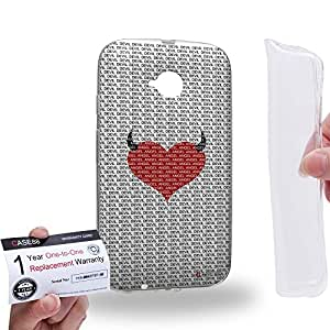 Case88 [Motorola Moto E (2nd Gen.)] Gel TPU Carcasa/Funda & Tarjeta de garantía - Art Fashion Devil Heart Pattern Art1708