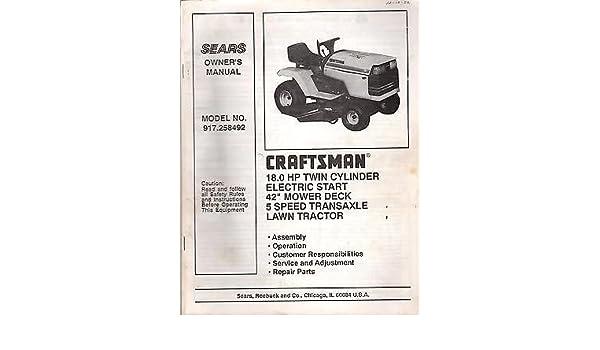 1992 CRAFTSMAN LAWN TRACTOR 18 HP 42