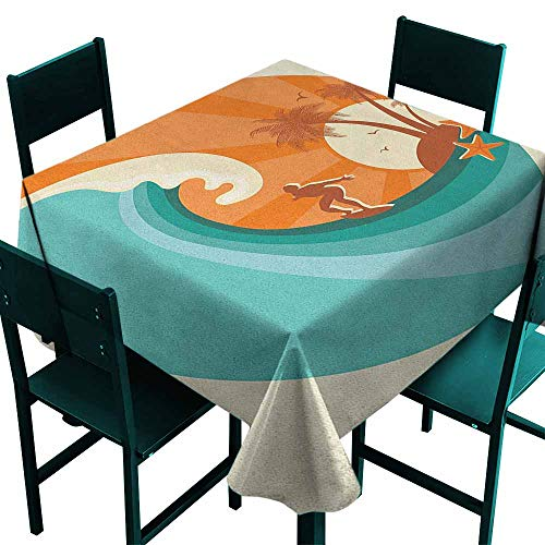 Resistant Table Cover Ride The Wave Retro Man Surfing at Beach Island Coconut Palm Trees Illustration for Square and Round Tables 50x50 Inch Orange Teal Ivory