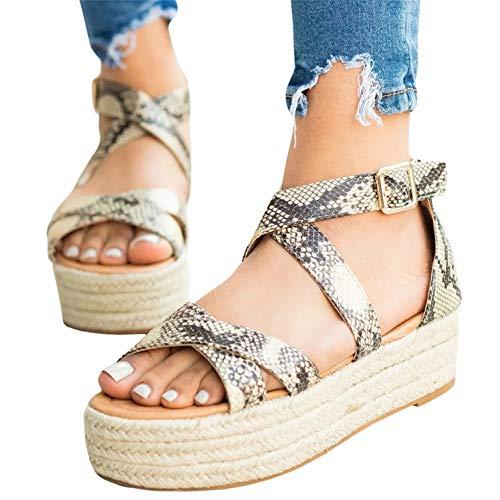 (Womens Platform Sandals Strappy Summer Flat Snakeskin Ankle Strap Espadrilles)