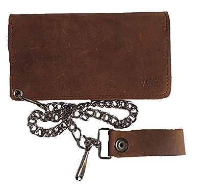 "Leather Biker Billfold Chain 8"" Wallet Distressed Brown"