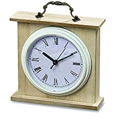 The Americana Iconic Heritage Home White Analog Clock, Quartz Movement, Glass Wood, Metal, and Plastic, 6 x 6 Inches, 1AA Battery Required, By Whole House Worlds