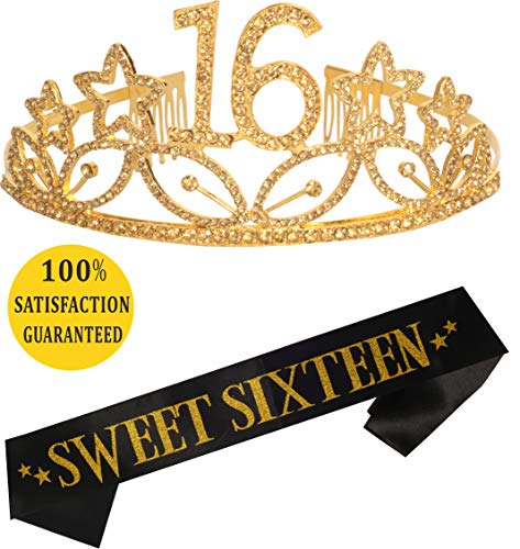 16th Birthday Tiara and Sash Gold| Happy 16 Birthday Party Supplies| Sweet Sixteen Black Glitter Satin Sash | Rhinestone Tiara Birthday for 16th Birthday Party |Sweet Sixteen Birthday (Gold) -