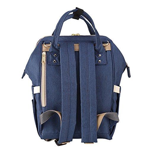 Sunveno impermeable Bolsa cambiadora de pañales Mochila de pañales Organizador de la bolsa de viaje para mamá y papá Con el bolsillo aislado (Naranja rosa) azul marino
